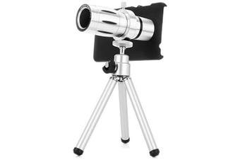 Practical 12x Optical Telescope Mobile Telephoto Lens with Tripod and Back Case for Xiaomi 4- Silver
