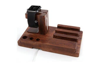 Wooden Charging Dock Holder Stand Desktop Phone for Apple Watch / iPad / iPhone- Deep Coffee