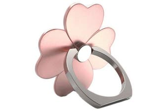 Clover 360 Degree Mobile Finger Ring Holder Mobile Phone Stand- Rose Gold