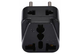 EU Plug to Universal US UK AU Socket Adapter- Black