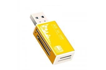 Rectangle USB 2.0 SD / MS / TF / M2 Multifunction Metal Card Reader- Gold