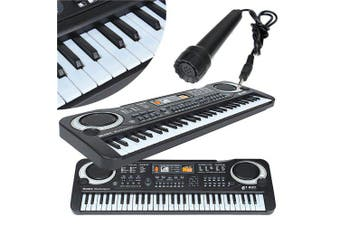 Multifunctional Mini Electronic Piano with Microphone 61 Keys Toy for Children- Black EU Plug