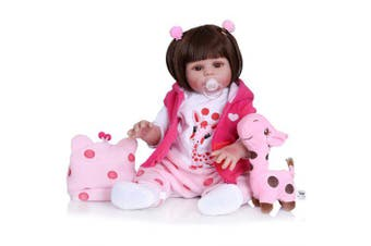 NPK 1733 Simulation Silicone Reborn Baby Girl Doll Toy- Rose Red