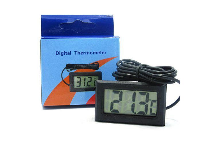 Waterproof Probe Electronic Counting Digital Thermometer for Fish Tank / Refrigerator- Black