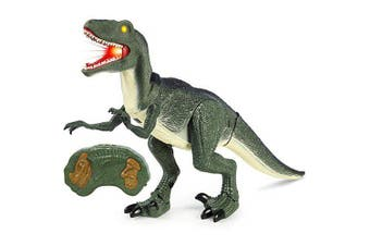 Remote Control Velociraptor RC Walking Dinosaur Lights and Sounds Kid Pet Toy- Army Green