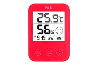 FanJu FJ718 Weather Station Digital Thermometer Hygrometer Clock with Temperature Humidity Red- China