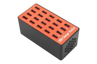 20 Ports Desktop USB Charger Smart Fast Charging Station For Tablet Phone Camera- Orange UK Plug