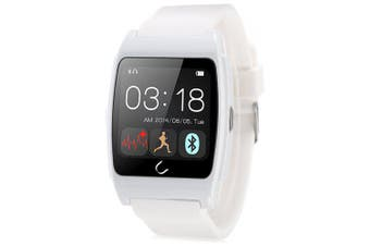 U Watch Ux Heart Rate Monitors Rubber Band Smart Watch- White