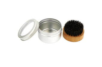 YMH37185 Beard Brush with Containing Storage Box Set- Silver