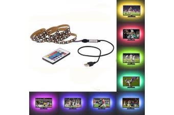 OMTO USB LED Strip 5050 RGB TV Backlight Flexible Light Tape 24Key RF Controller- Multi-A No Waterproof 1M