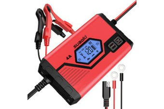 SUAOKI 4 Amp 6V Car Jump Starter and Maintainer with 12V Fully Automatic 8-Stage Charging EU Plug- Red Poland