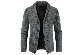 Men's Fashion Lapel Button-down Sweater Casual Knit Cardigan with Pockets- Dark Gray L