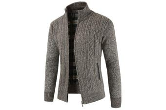 Men's Cardigan Stand Collar Thick Knit- Coffee 3XL