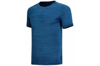 Li-Ning Mens Running Series At Dry T-Shirt Regular Fit Breathable Comfortable Sports Tee Tops Atsn045-4- Blue Ivy L