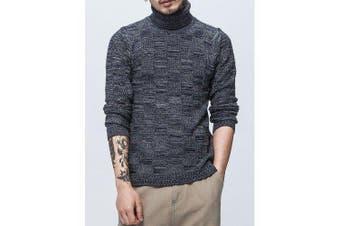 Autumn Winter Men's Fashion Design High CollarSweater- Deep Blue L