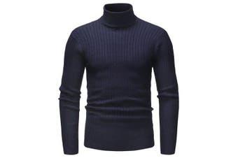 Fashion Comfortable Classic Turtle Neck Stripe Sweater- Midnight Blue XL