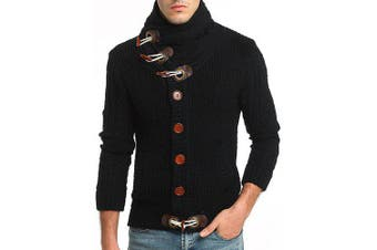 Autumn and Winter Fashion Warm Thick Sweater- Black M