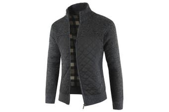 Men Warm Thickening Splicing Long Sleeve Coat- Black XL