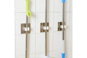 Magic Sticker Powerful Hook Bathroom Mop Hanger Bathroom Wall Hanging Unmarked Pinless Mop Holder- 3Pack Single buckle white