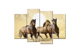 YISHIYUAN 4 Pcs HD Inkjet Paints Brown Horse Running Animal Decorative Painting- Multi 30cm*60cm*2pcs+30cm*80cm*2pcs