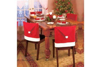 Christmas Decoration Red Hat Chair Cover- Red