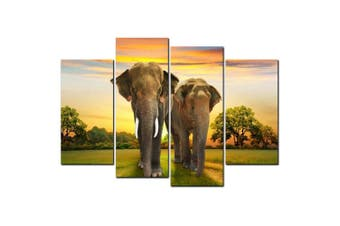 YISHIYUAN 4 Pcs HD Inkjet Paints Elephant Animal Decorative Painting- Multi 30cm*60cm*2pcs+30cm*80cm*2pcs