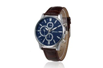 Fashion Date Watch With Men'S Leather Watch Business Casual Watches- Brown + Blue