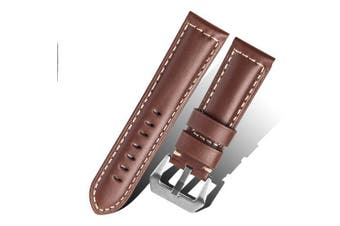 Genuine Leather 22M Watch Band Strap Belt for Samsung Gear S3 Frontier- Deep Coffee 22MM