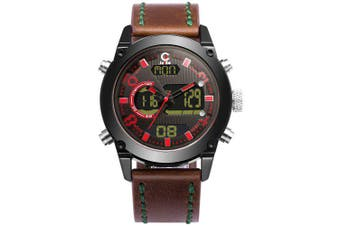 JEISO Men LED Analog Digital Leather Waterproof Clock Quartz Sports Watches- Red