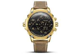 Megir Men's Fashion Dual Time Zone Multi-function Leather Quartz Watch- Gold