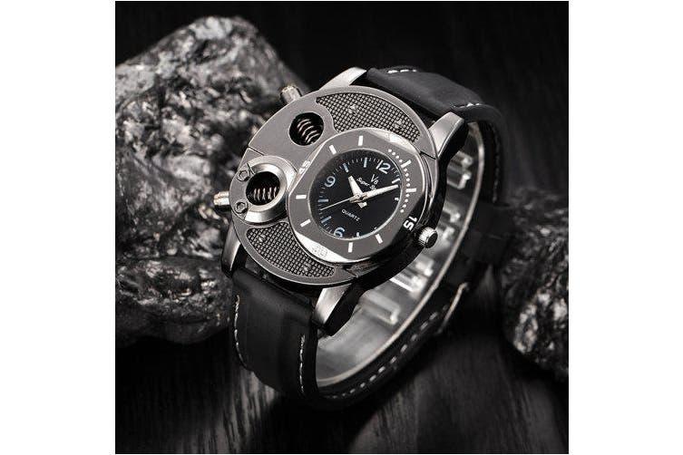 men Watches Fashion Men's Thin Silica Gel Students Sports Quartz Watch- Black