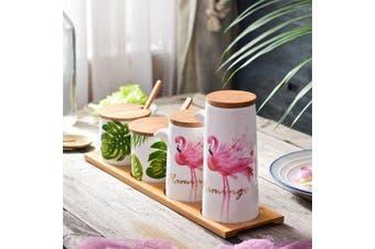 Ceramic Seasonging Jars with Bamboo Tray- Multi-A