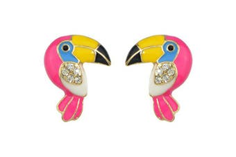 ER - 6088 Colorful Parrot Fashion Stud Earrings- Rose Red