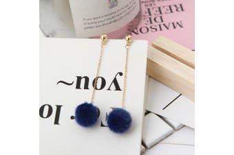 European Style Fashion Simple Plush Ball Earrings- Blue 1 pair