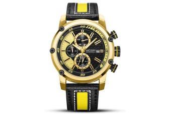 Megir Mens Luxury Brand Waterproof Quartz Leather Chronograph Watches- Gold