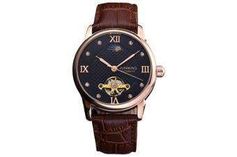 JUNMING Men Hollow Engraving Leather Mechanical Watch- Coffee