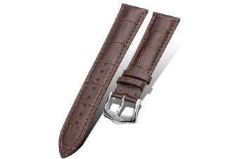 Genuine Leather Strap Belt Watch Band for Samsung Gear S3 Frontier Classic 22mm- Deep Brown 22mm[Gear S3]