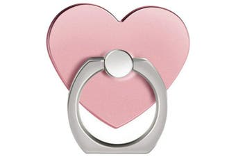 360 Degree Rotating Heart Shape Cell Phone Finger Ring Holder Stand- Rose Gold