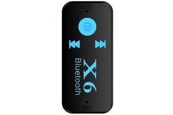X6 Car Bluetooth Audio Receiver AUX Bluetooth Adapter- Black