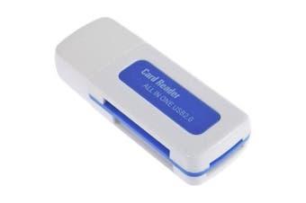 USB 2.0 4 in 1 Memory Multi Card Reader for M2/SD/SDHC/DV/Micro SD/TF- White
