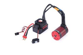 GTSKYTENRC 3650 3600KV / 5200KV Brushless Motor Heat Sink 60A ESC Waterproof Combo for RC 1/10 RC Car- Red 3600KV