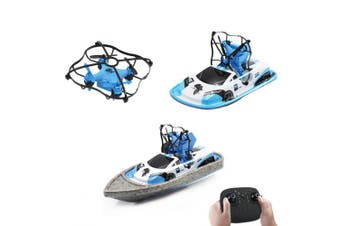 Global Drone GW123 Sea Land Air 3 in 1 RC Drone Quadcopter Remote Control Boat Toys- Blue China