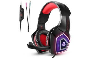 3.5mm Gaming Headphones Mic LED Surround Stereo Headset for PC Laptop ps4 x box- Red United States
