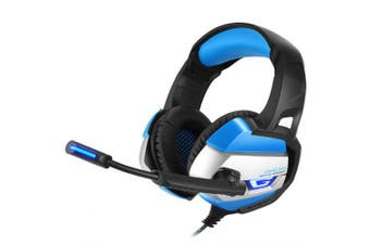 Gaming Headset with Microphone casque PC Gamer 3.5mm Stereo HeadphonesPS4 Gamepad Laptop Computer- Blue