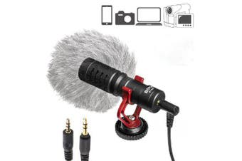 Video Handheld Microphone Livestream Recording for Iphone Smartphone for Canon Sony DSLR Camcorder- Black
