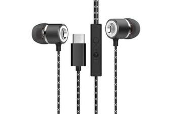 For Type-C Wired Headphones In-ear Headphone Sports Earphone Wired Control Cable Clip Stereo Sound Noise Cancelling Earb- Black