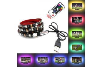 OMTO LED USB Strip 5050 RGB TV Backlight Flexible Light Tape 17Key RF Controller- Multi No Waterproof 1M