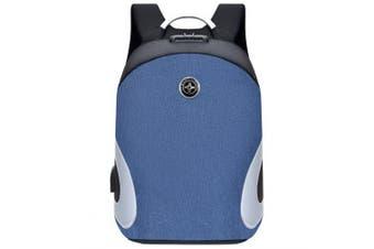 Men's Aluminum Handle Computer Backpack Anti-theft Design USB Charging Port Suitcase Interface- Blue