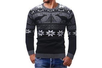 Thicken Christmas Sweater Men Long Sleeve Cardigan- Black XL