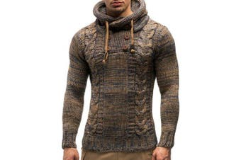 Men's Fashion Slim Hooded Sweater Half Double-breasted Knit Shirt Fried Dough Twist- Camel brown 2XL